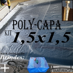 KIT Super Capa de Piscina Transparente 1,5x1,5 + 8el 20cm + 8pf