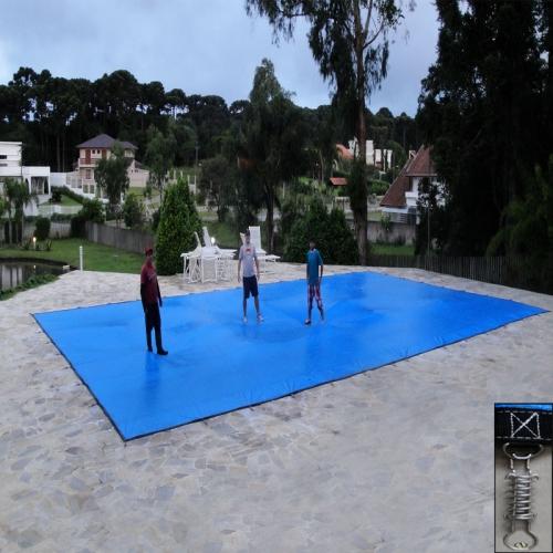 Capa para piscina super 9 5 x 4 0m pp pe cor azul preto for Piscina 5x4