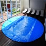 Lona Redonda: 11,5m Diâmetro PP/PE Azul/Preto 500 micras + 208 Argolas de INOX