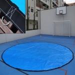 Lona Redonda 4,5m de Diâmetro Azul/Azul 380 micras + 36 elásticos lonaflex 30cm