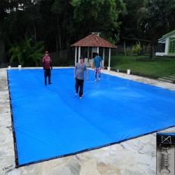 Capa para Piscina Super 7,5 x 3,0m PP/PE Cor Azul / Preto 58 molas 58 lonafix 3b