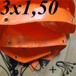 Lona Poly-Lona Plastica 3x1,50 Laranja ilhoses a cada 30cm